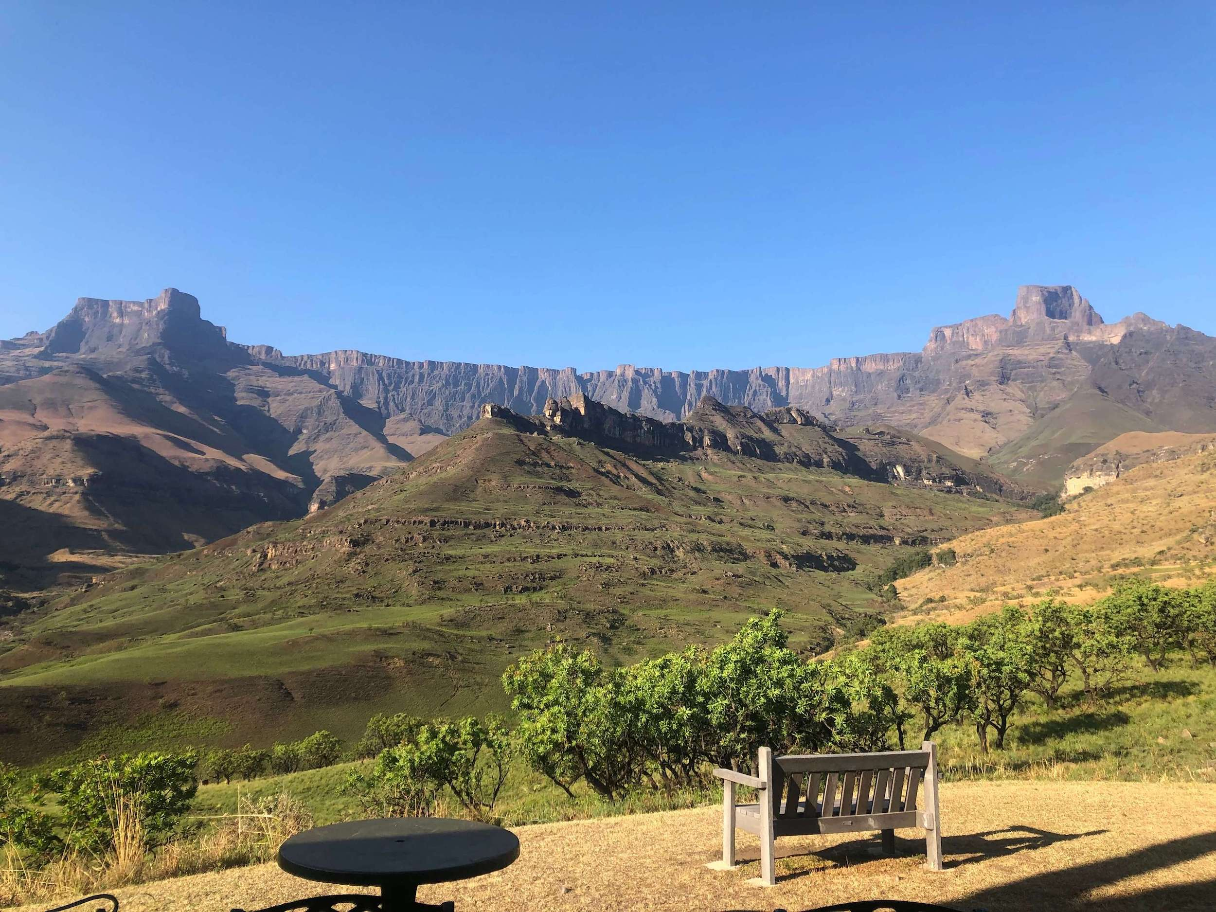 View from Thendele camp over Amphitheatre
